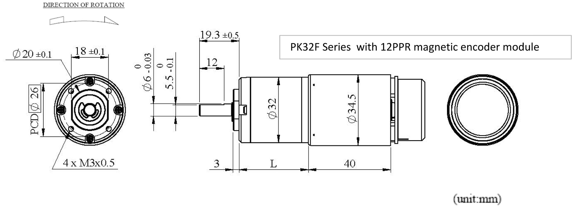 PK32F+HE12 Appearance Dimensions