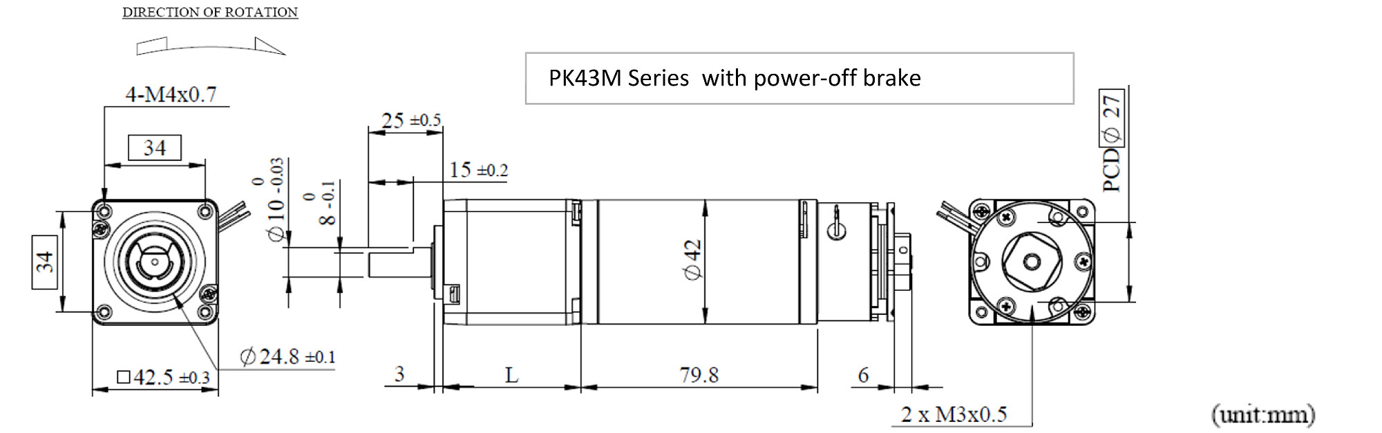 PK43MBL Appearance Dimensions